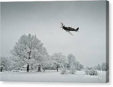 A Spitfire Winter  Canvas Print by J Biggadike
