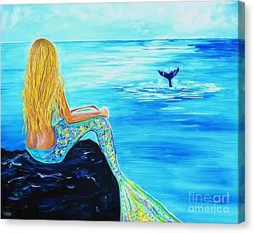 A Splashing Whale Canvas Print by Leslie Allen