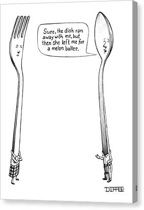A Spoon Talks To A Fork Canvas Print by Matthew Diffee