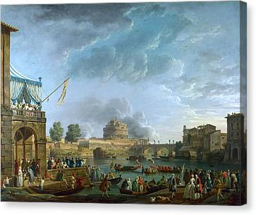 A Sporting Contest On The Tiber At Rome Canvas Print by Celestial Images