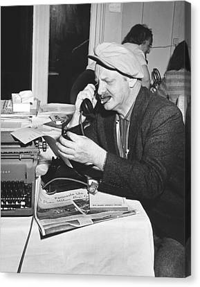 A Sports Reporter At Work Canvas Print by Underwood Archives