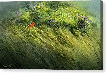 A Spot Of Red Canvas Print