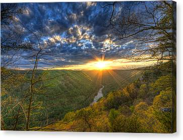 A Spring Sunset On Beauty Mountain In West Virginia. Canvas Print by Michael Bowen