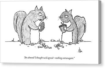 Squirrel Canvas Print - A Squirrel Couple Exchange Gifts Of An Acorn by Andrew Hamm