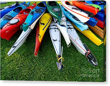 A Stack Of Kayaks Canvas Print