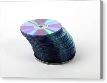 A Stack Of Recordable Discs Canvas Print