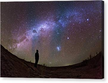 A Stargazer Observing The Milky Way Canvas Print by Babak Tafreshi