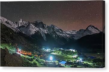 A Starry Night In Laigu Village, Tibet Canvas Print by Jeff Dai