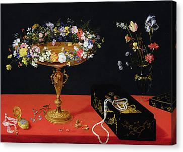 A Still Life Of A Tazza With Flowers  Canvas Print