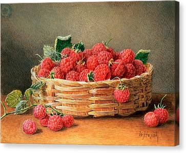 A Still Life Of Raspberries In A Wicker Basket  Canvas Print by William B Hough