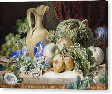 A Still Life With A Jug Apples Plums Grapes And Flowers Canvas Print by Valentine Bartholomew