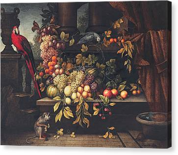 Peaches Canvas Print - A Still Life With Fruit, Wine Cooler by David Emil Joseph de Noter