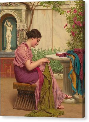 A Stitch Is Free Or A Stitch In Time 1917 Canvas Print by John William Godward