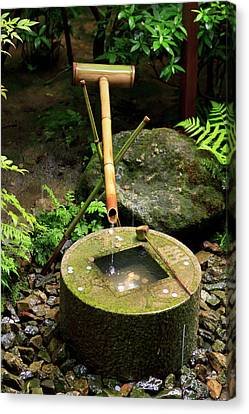 A Stone Water Basin In The Grounds Canvas Print by Paul Dymond
