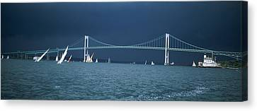 A Storm Approaches Sailboats Racing Canvas Print by Panoramic Images