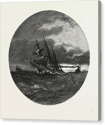 A Storm On Lake Erie, Canada Canvas Print by Canadian School