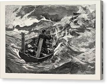 A Storm The Sea Anchor In Use Canvas Print by English School