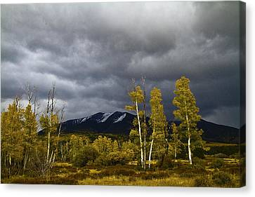 Canvas Print featuring the photograph A Stormy Day At The Peaks by Tom Kelly
