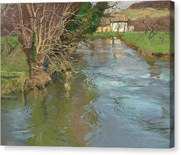 A Stream In Spring Canvas Print by Fritz Thaulow