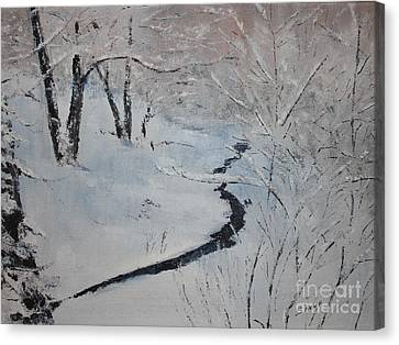 A Stream In The Woods Canvas Print