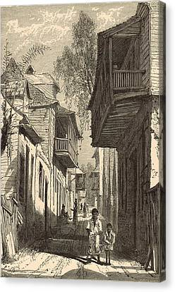 A Street In St. Augustine 1872 Engraving Canvas Print by Antique Engravings