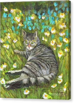 A Striped Cat On Floral Carpet Canvas Print
