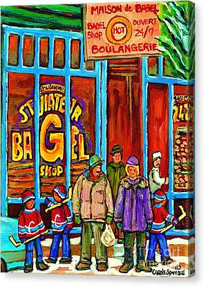 St.viateur Bagel Canvas Print - A Stroll After The Hockey Game St Viateur Bagel Montreal Winter Street Carole Spandau by Carole Spandau