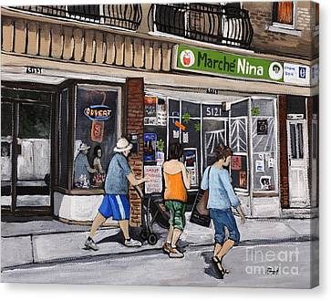 A Stroll Down Wellington Street In Verdun Canvas Print by Reb Frost