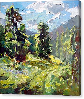 Canvas Print featuring the painting A Study In The Mountains by Dmitry Spiros
