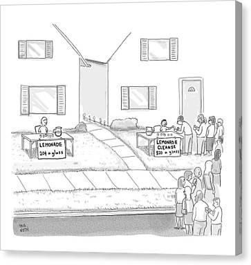 Organic Canvas Print - A Suburban Lemonade Stand Attracts No Business by Paul Noth