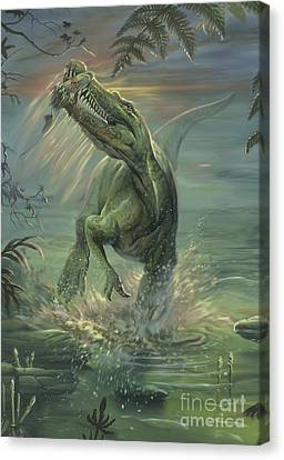 Food In Mouth Canvas Print - A Suchomimus Catches A Fish by Jan Sovak