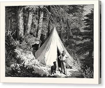 Vancouver Canvas Print - A Summer Encampment In A North Pacific Forest Copper by English School