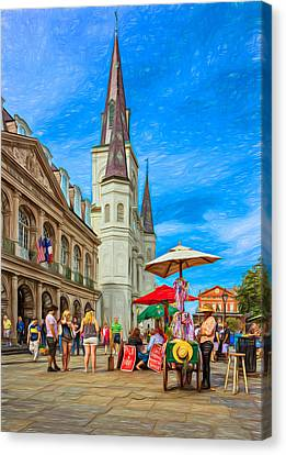 A Sunny Afternoon In Jackson Square 2 Canvas Print by Steve Harrington