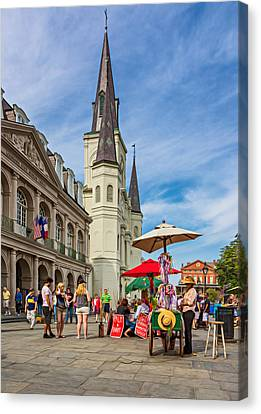 A Sunny Afternoon In Jackson Square Oil Canvas Print by Steve Harrington