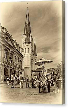 A Sunny Afternoon In Jackson Square Sepia Canvas Print by Steve Harrington