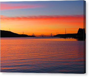 A Sunset And A Bridge Canvas Print by Brian Maloney