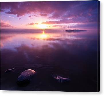 A Sunset Beyond The Rocks Canvas Print by Mavourneen Strozewski