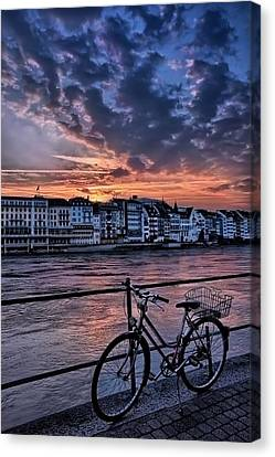 A Sunset Cycle By The Rhine Basel Canvas Print by Carol Japp