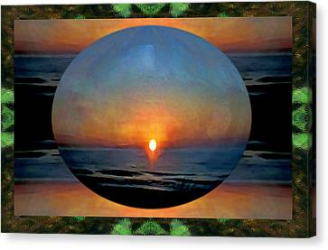 A Sunset On Our World - Sunset Over The Sea Canvas Print by Marie Jamieson