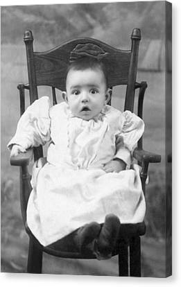 A Surprised Baby Portrait Canvas Print by Underwood Archives