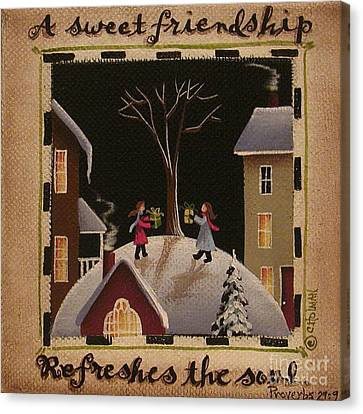 A Sweet Friendship  Winter Canvas Print by Catherine Holman