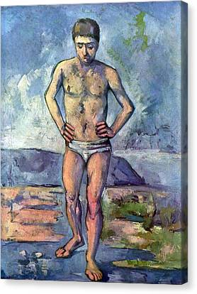A Swimmer By Cezanne Canvas Print by John Peter
