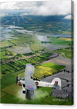 Canvas Print featuring the photograph A Swordfish Aircraft With The Royal Navy Historic Flight. by Paul Fearn