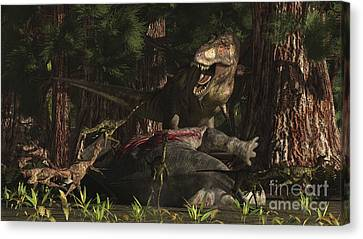 A T-rex Returns To His Kill And Finds Canvas Print by Arthur Dorety