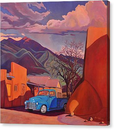 Canvas Print featuring the painting A Teal Truck In Taos by Art James West