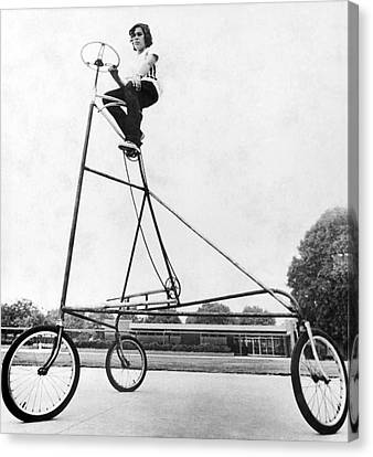 Tricycle Canvas Print - A Ten Foot Tall Tricycle by Underwood Archives