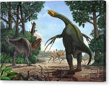 A Therizinosaurus Prevents A Young Canvas Print