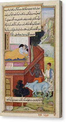 A Thief And Demon Conspiring Canvas Print