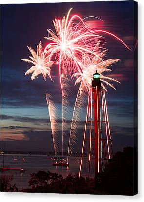 A Three Burst Salvo Of Fire For The Fourth Of July Canvas Print
