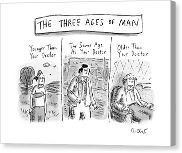 Old Canvas Print - A Three Panel Images That Have Three Men: by Roz Chast